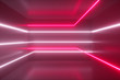 canvas print picture - Abstract background, moving neon rays, luminous lines inside the room, fluorescent ultraviolet light, red pink white spectrum, 3d illustration