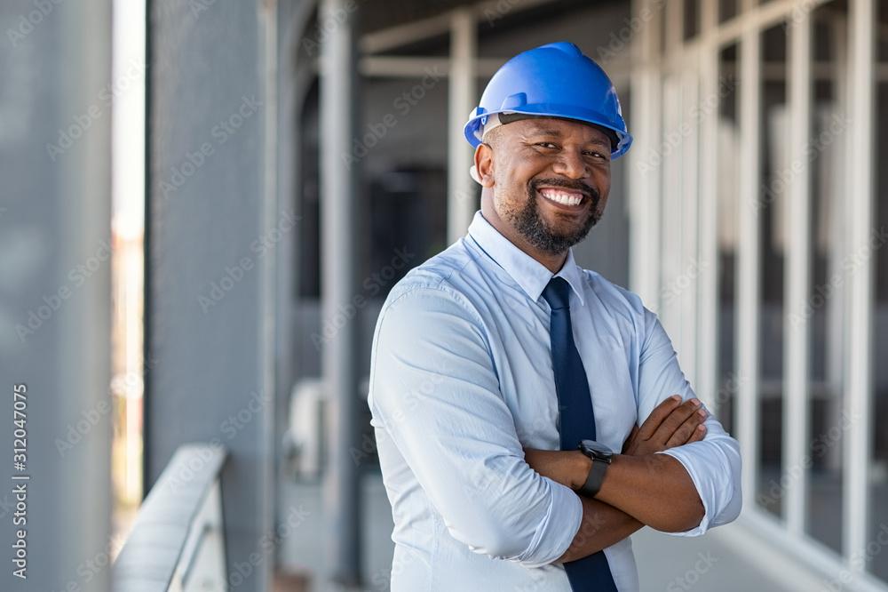 Fototapeta Successful contractor at building site