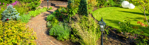 Foto Landscape design in home garden, landscaping in backyard of residential house