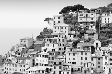 Fototapeta Miasta Cinque Terre - Riomaggiore. Black and white vintage toned.