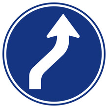 Curved Right Traffic Road Sign,Vector Illustration, Isolate On White Background Symbols Label. EPS10