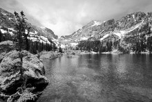 Rocky Mountain National Park, Colorado. Vintage Filtered Black And White Tone.