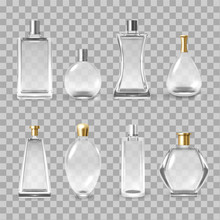 Perfume Bottles Assortment Realistic Vector Illustrations Set