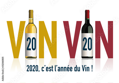 Obraz Concept de carte de vœux 2020 originale pour les viticulteurs, avec deux bouteilles, qui en associant le chiffre 20 avec le mot vin, symbolise l'année du vin. - fototapety do salonu