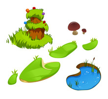 Set Grass, Pond And Hummock