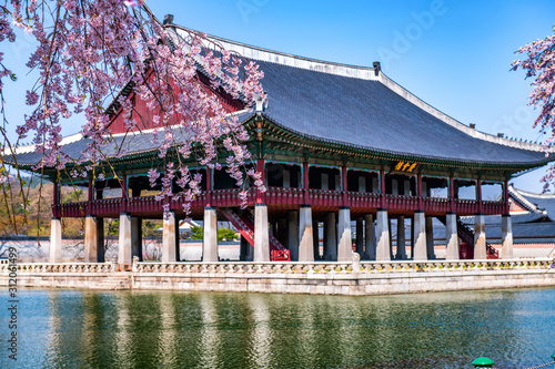 Photo gyeongbokgung palace in spring at seoul city south korea