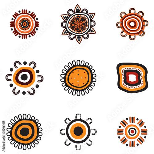 Aboriginal art dots painting icon logo design illustration template Wallpaper Mural