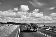 New Zealand Road. Black And White Retro Image Style.