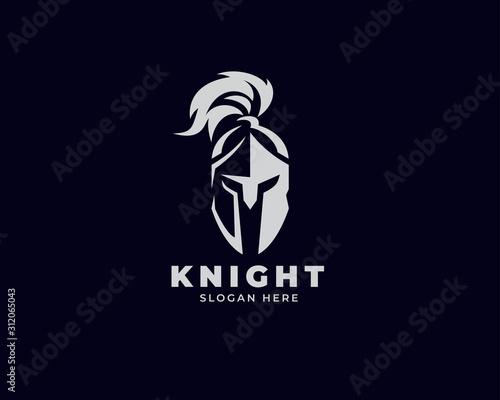 Leinwand Poster warrior sparta logo vector template. strong knight symbol