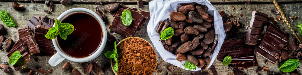 Fototapeta Different conditions of cocoa. Various cocoa - beans, beans, ground, crushed cocoa powder, chocolate paste, chocolate pieces and hot chocolate in a cup. On a wooden rustic background with copy space f