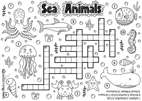 Black and white crossword with sea animals for coloring Wallpaper Mural