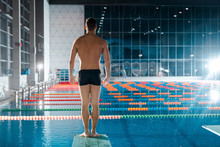 Back View Of Muscular Swimmer ...