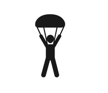 Parachute Man Icon Simple Style Vector Image