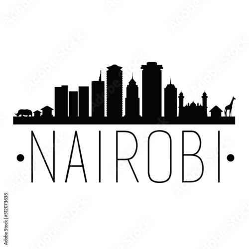 Nairobi Kenya. City Skyline. Silhouette City. Design Vector. Famous Monuments. Wall mural