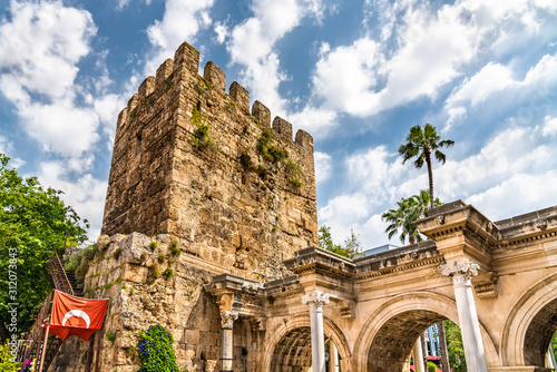 Photo View of Hadrian Gate in Antalya, Turkey