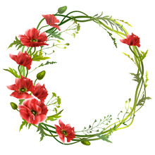 Floral Wreath With Red Poppies...