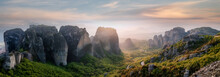 Wonderful Panoramic View Of Meteora. Majestic Sunny Landscape With Colorful Sky Over The Fairytale Mountain Valley In Greece. Amazing Spring Scene Of Famouse Kalabaka Location, Greece, Europe
