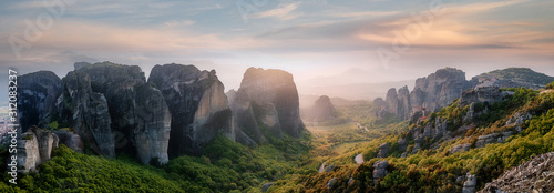 Wonderful Panoramic view of Meteora Wallpaper Mural