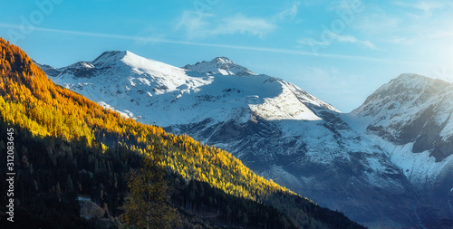 Wall mural - The Alps. Mountain under Sunlight. Majestic Dolomites alps. Italy. Wonderful Nuture Landscape
