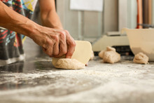 Hands Crumple Dough,