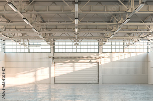 Fototapeta Empty Hangar, Empty Factory Interior or Empty Warehouse With Roller Shutter Door and Concrete Floor. 3d rendering obraz