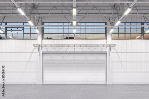 Fototapeta Enlightened White Empty Hangar Interior or Warehouse With Roller Shutter Door and White Concrete Floor. 3d rendering obraz