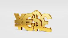3D Illustration Of Currency Symbols Set Dollar Yen Euro Pound Sign Symbols On A White Background.