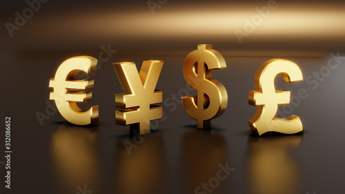 Golden color 3D currency symbols, currency icon Wallpaper Mural