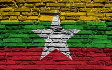 Burma Flag On Brick Wall