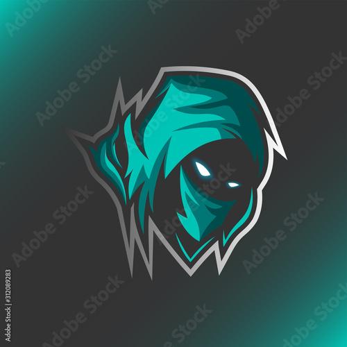 Photo Assassin Reaper Head Mascot Logo Illustration Template