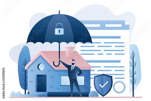 Home insurance concept. Businessman hold umbrella, modern cottage and paper agreement. Warranty and shield symbol.