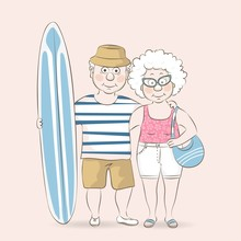Elderly Couple Of Tourists On The Beach.Grandmother And Grandfather Surfers.Vector Illustration In A Cartoon Style.