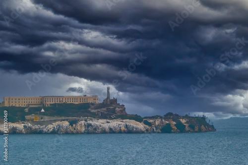 Alcatraz Under Stormy Clouds in San Francisco Bay Canvas Print