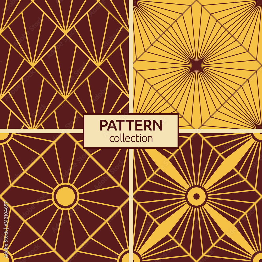 Set of four seamless patterns. Art deco sunburst patterns.