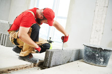 Bricklayer Builder Working Wit...