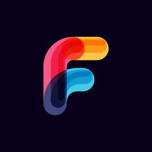 F Letter Vivid Logo With Overl...