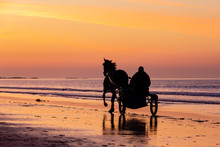 Iding Off Into The Sunset On White Rocks Beach Portrush Northern Ireland