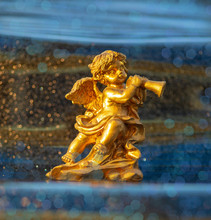 Golden Angel Cherub Statue Wit...