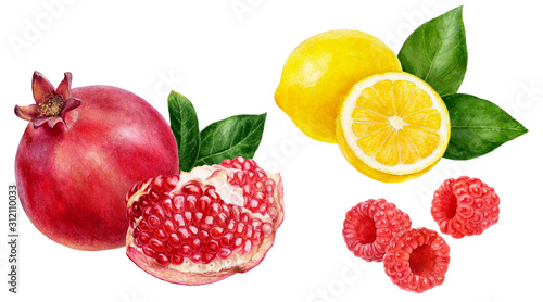 Pomegranate lemon raspberry set composition watercolor isolated on white background