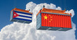 Freight container with Cuba and China national flag. 3D Rendering