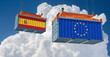 Freight container with European Union and Spain flag. 3D Rendering