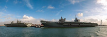 The Royal Navys Aircraft Carriers HMS Queen Elizabeth And HMS Prince Of Wales Docked At Portsmouth, England