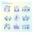 Collection of vector design illustrations about human resources for graphic resources