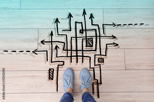 Person standing on floor near arrows pointing in different directions, top view Canvas Print