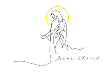 Continuous Line Drawing Of Jesus Drawing Simple Lines.