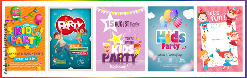 Vector Kids Party poster design template. Boy and girl happy and jumping. - 312147449