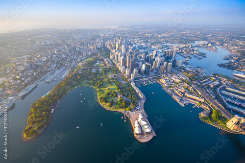 Sydney Harbour from high above aerial view - 312148646