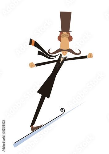 Cartoon mustache man a ski jumper isolated illustration. Cartoon mustache man a ski jumper isolated on white illustration