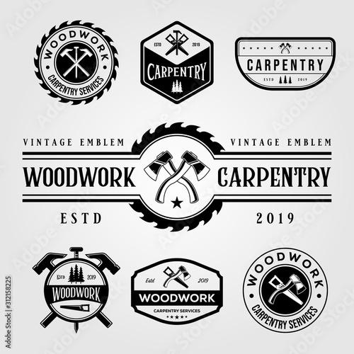 set of carpentry woodwork vintage logo craftsman vector illustration design Wallpaper Mural