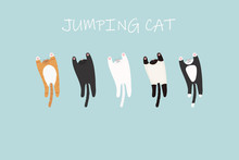 Adorable Jumping Cats Doodle. ...